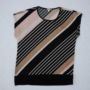 Black Cream Brown Pink Short-sleeve Top